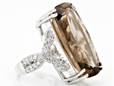 Pre-Owned Brown Smoky Quartz Sterling Silver Ring 23.57ctw