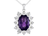 Pre-Owned Purple Amethyst Sterling Silver Pendant With Chain 5.55ctw