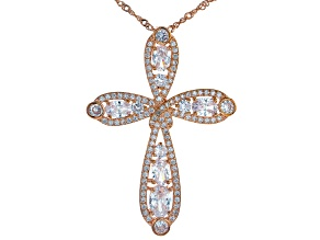 Pre-Owned White Cubic Zirconia 18k Rg Over Sterling Silver Pendant With Chain 6.98ctw
