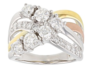 Pre-Owned Moissanite Platineve With 14k Yellow And Rose Gold Over Platineve Ring 1.30ctw DEW