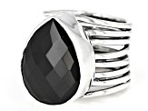 Pre-Owned Black Spinel Sterling Silver Ring 14.45ct