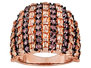 Pre-Owned Brown And Mocha Cubic Zirconia 18k Rose Gold Over Silver Ring 5.83ctw