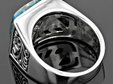 Pre-Owned Blue Turquoise Sterling Silver Mens Ring
