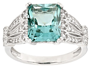Pre-Owned Synthetic Green Spinel And White Cubic Zirconia Rhodium Over Sterling Ring 4.07ctw
