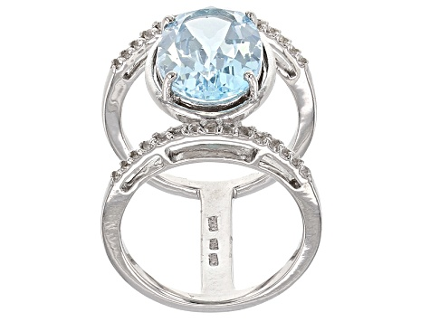 Pre-Owned Sky Blue Topaz Sterling Silver Ring 6.70ctw