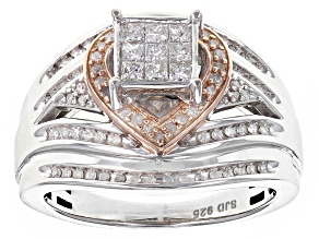 Pre-Owned Diamond Rhodium And 14k Rose Gold Over Sterling Silver Ring .50ctw
