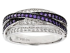 Pre-Owned Purple And White Cubic Zirconia Black And White Rhodium Over Sterling Silver Ring 1.10ctw
