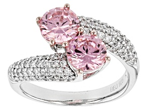 Pre-Owned Pink And White Cubic Zirconia Rhodium Over Sterling Silver Ring 4.40ctw
