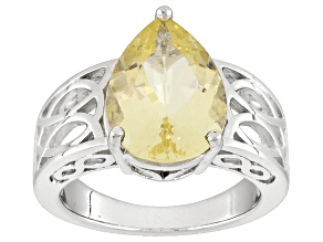 Pre-Owned Yellow Labradorite Sterling Silver Solitaire Ring 4.48ct