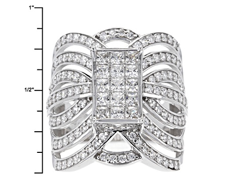 Pre-Owned Cubic Zirconia Silver Ring 2.86ctw (1.65ctw DEW)