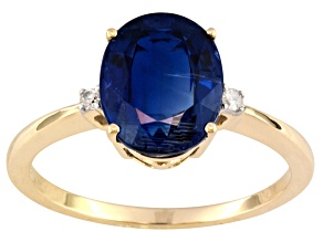 Pre-Owned 3.18ct Oval Nepalese Kyanite With .04ctw Round White Diamond Accent 10k Yellow Gold Ring