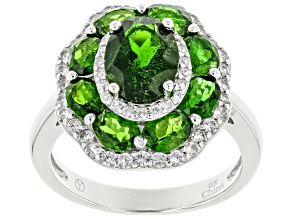Pre-Owned Green Chrome Diopside Sterling Silver Ring 3.72ctw
