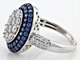 Pre-Owned Blue And White Cubic Zirconia Silver Ring 3.43ctw