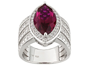 Pre-Owned Lab Created Ruby And White Cubic Zirconia Silver Ring 6.52ctw