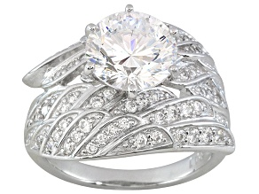 Pre-Owned Bella Luce ® Dillenium Cut 5.92ctw Rhodium Over Sterling Silver Angel Wing Ring
