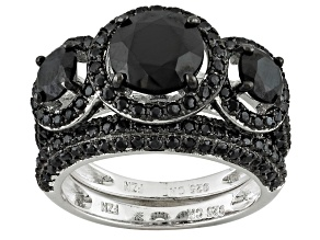 Pre-Owned Black Spinel Sterling Silver Ring Set 4.04ctw
