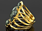Pre-Owned Green Seraphinite 18k Yellow Gold Over Bronze Ring
