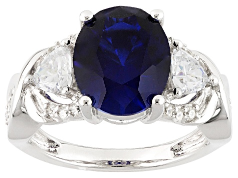 Pre-Owned Lab Created Sapphire And White Cubic Zirconia Silver Ring 5.20ctw