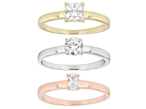 Pre-Owned White Cubic Zirconia 18k Rg And Yg Over Sterling Silver Rings 1.94ctw