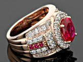 Pre-Owned Red And White Cubic Zirconia 18k Rose Gold Over Silver Ring 6.04ctw
