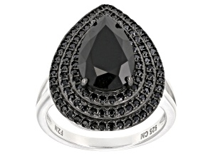 Pre-Owned Black Spinel Sterling Silver Ring 4.00ctw