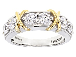 Pre-Owned white cubic zirconia rhodium & 18k yellow gold over silver ring