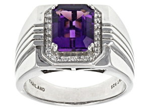 Pre-Owned Purple Uruguay Amethyst Sterling Silver Mens Ring 2.66ctw.