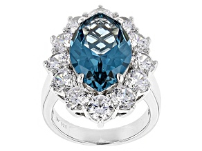 Pre-Owned Lab Created Blue Spinel And White Cubic Zirconia Rhodium Over Sterling Silver Ring 16.60ct