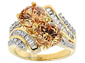 Pre-Owned Brown And White Cubic Zirconia 18k Yellow Gold Over Silver Ring 5.18ctw (4.72ctw DEW)