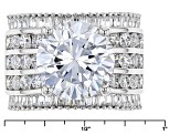 Pre-Owned White Cubic Zirconia Rhodium Over Sterling Silver Ring 15.15ctw