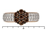 Pre-Owned Brown And White Cubic Zirconia 18k Rose Gold Over Silver Ring 2.55ctw (1.31ctw DEW)