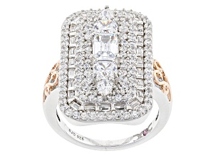 Pre-Owned White Cubic Zirconia Rhodium & 18k Rose Gold Over Sterling Silver Ring 5.23ctw