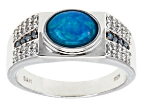 Pre-Owned Blue Ethiopian Opal Sterling Silver Mens Ring 1.68ctw