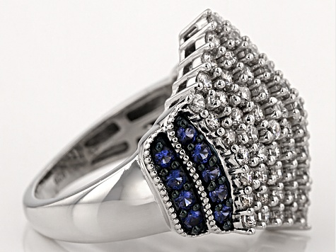 Pre-Owned White Cubic Zirconia And Synthetic Sapphire Silver Ring 4.20ctw
