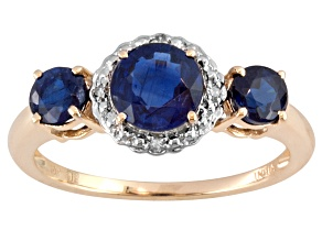 Pre-Owned 1.73ctw Round Nepalese Kyanite With .02ctw Round White Diamond Accent 10k Yellow Gold 3-St