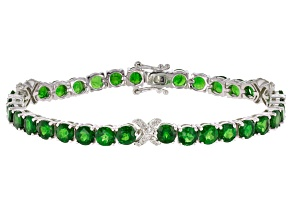 Pre-Owned Green Chrome Diopside Sterling Silver Bracelet 21.77ctw
