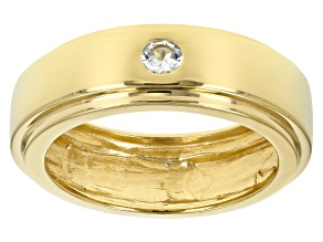 Pre-Owned Blue aquamarine 18k yellow gold over sterling silver gent's band ring .12ct