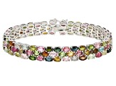 Pre-Owned Multi-Tourmaline Sterling Silver Bracelet 22.00ctw
