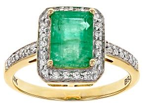 Pre-Owned Green Zambian Emerald 14k Yellow Ring 1.50ctw