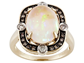 Pre-Owned Multi Color Ethiopian Opal 14k Yellow Gold Ring 4.08ctw.