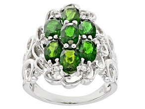 Pre-Owned Green Russian Chrome Diopside Sterling Silver Ring 3.07ctw