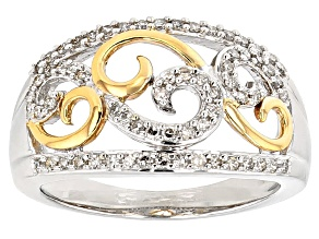 Pre-Owned White Diamond 10k White And Yellow Gold Ring .38ctw
