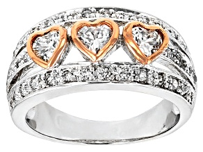 Pre-Owned White Cubic Zirconia 18k Rose Gold Over Silver And Rhodium Over Silver Ring 1.65ctw