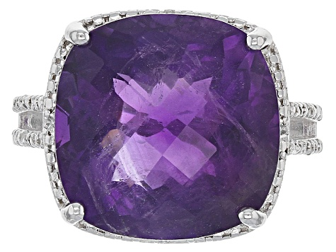 Pre-Owned Purple African Amethyst Sterling Silver Ring 12.20ctw