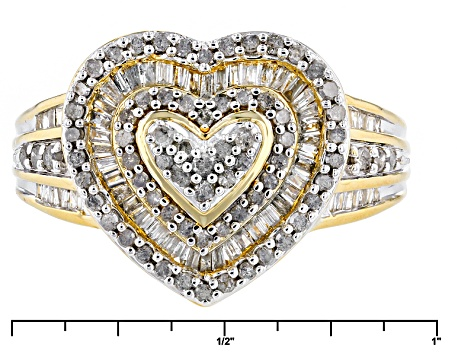 Pre-Owned Diamond 14k Yellow Gold Over Silver Ring 1.01ctw