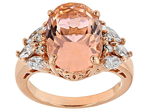 Pre-Owned Morganite Simulant And White Cubic Zirconia 18k Rose Gold Over Silver Ring 7.06ctw
