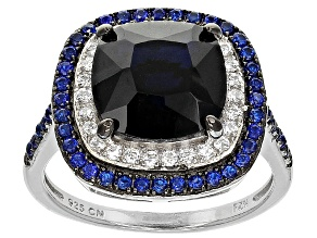 Pre-Owned Blue And White Cubic Zirconia Rhodium Over Sterling Silver Ring 5.19ctw