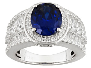 Pre-Owned Blue And White Cubic Zirconia Silver Ring 7.97ctw