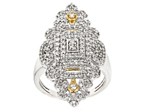 Pre-Owned White Cubic Zirconia Rhodim Over Silver And 18k Yg Over Silver Ring 1.66ctw