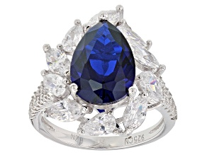 Pre-Owned Blue Synthetic Spinel And White Cubic Zirconia Rhodium Over Sterling Silver Ring 7.62ctw